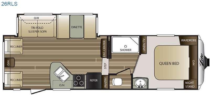 Floorplan - 2016 Keystone RV Cougar X-Lite 26RLS