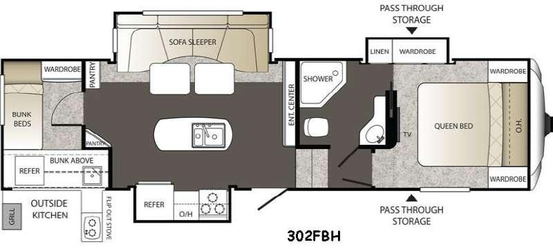 Floorplan - 2016 Keystone RV Outback 302FBH