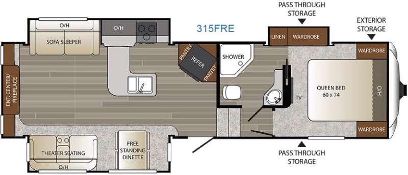 Floorplan - 2016 Keystone RV Outback 315FRE