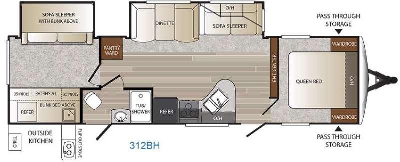 Floorplan - 2016 Keystone RV Outback 312BH