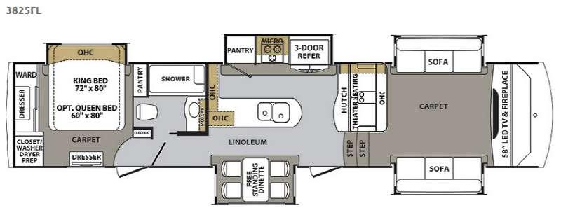 Floorplan - 2016 Forest River RV Cardinal 3825FL