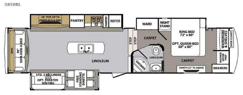 Floorplan - 2016 Forest River RV Cardinal 3850RL