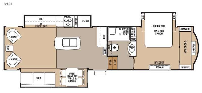 Floorplan - 2016 Forest River RV Cedar Creek 34RL