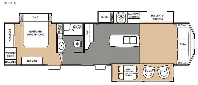 Floorplan - 2016 Forest River RV Cedar Creek Cottage 40CCK