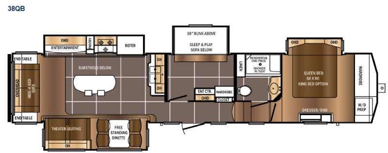 Floorplan - 2016 Prime Time RV Sanibel Traveler 38QB