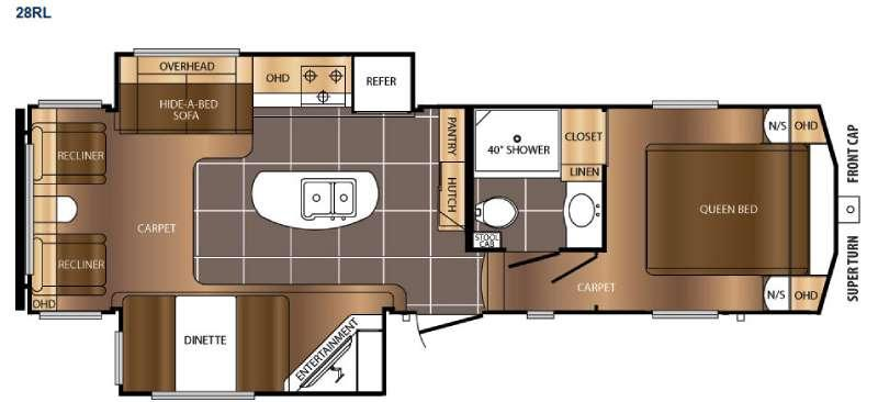 Floorplan - 2016 Prime Time RV Crusader LITE 28RL