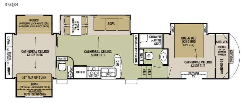 Floorplan - 2016 Forest River RV Cedar Creek Silverback 35QB4