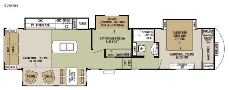 Floorplan - 2016 Forest River RV Cedar Creek Silverback 37MBH