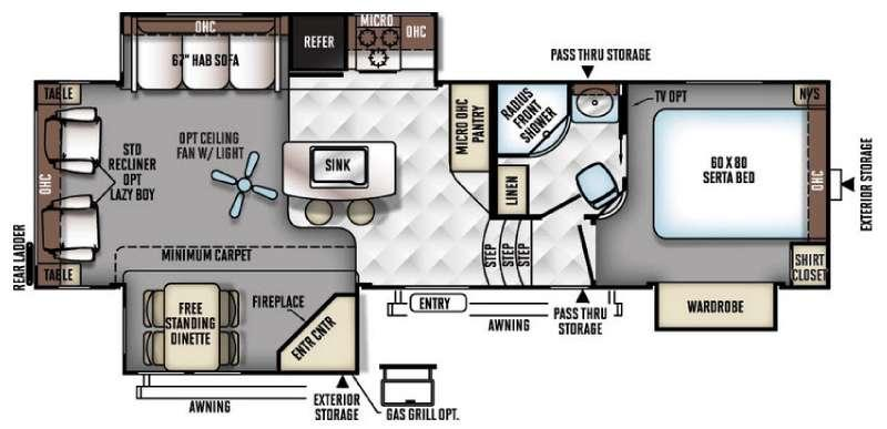 Floorplan - 2016 Forest River RV Flagstaff Classic Super Lite 8528IKWS