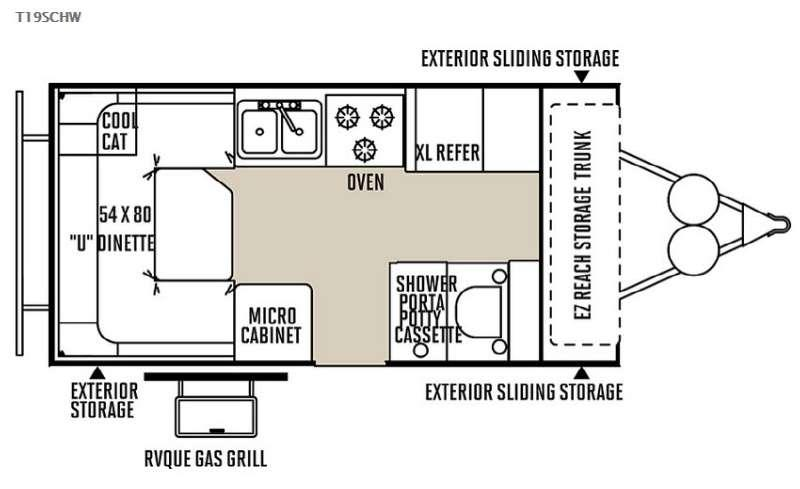 Floorplan - 2016 Forest River RV Flagstaff Hard Side T19SCHW
