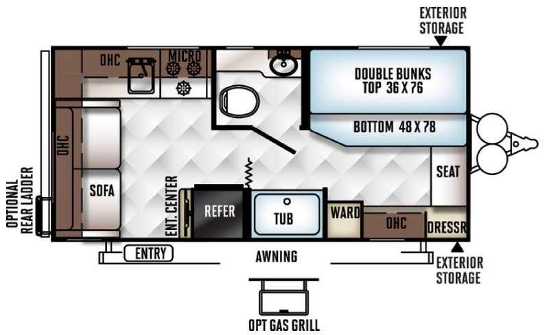 Floorplan - 2016 Forest River RV Flagstaff Micro Lite 19SB