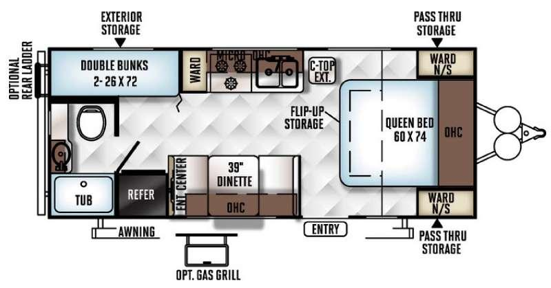 Floorplan - 2016 Forest River RV Flagstaff Micro Lite 23LB