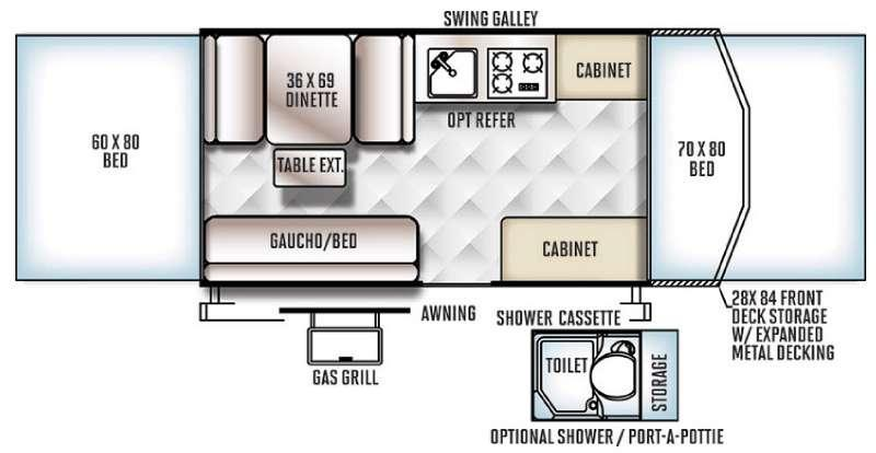 Floorplan - 2016 Forest River RV Rockwood Freedom Series 2280BH