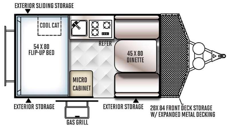 Floorplan - 2016 Forest River RV Rockwood Hard Side Series A122BH