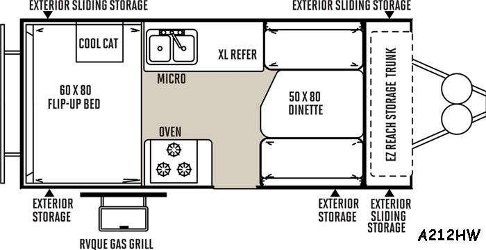 Floorplan - 2016 Forest River RV Rockwood Hard Side Series A212HW