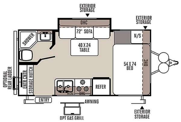 Floorplan - 2016 Forest River RV Rockwood Mini Lite 1809S