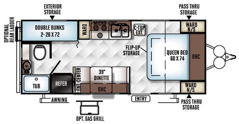 Floorplan - 2016 Forest River RV Rockwood Mini Lite 2306