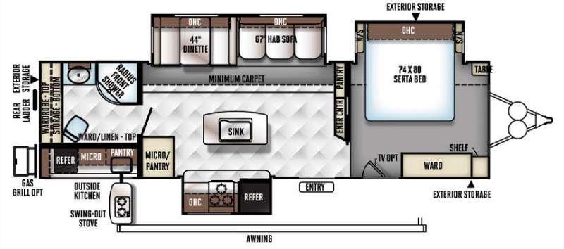 Floorplan - 2016 Forest River RV Rockwood Signature Ultra Lite 8293IKRBS