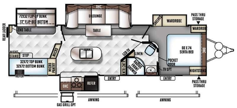 Floorplan - 2016 Forest River RV Rockwood Signature Ultra Lite 8327SS