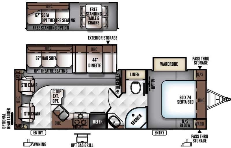 Floorplan - 2016 Forest River RV Rockwood Ultra Lite 2604WS