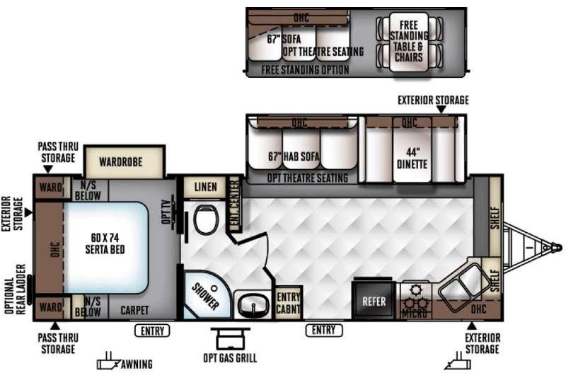 Rockwood Ultra Lite 2608WS Floorplan