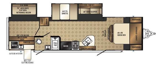 Floorplan - 2016 Palomino SolAire Ecplise 317BHSK