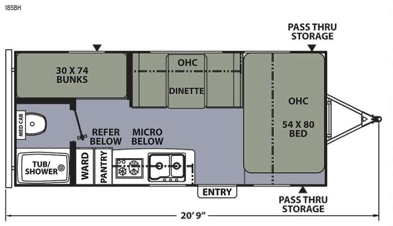 Apex Ultra-Lite 185BH Floorplan Image