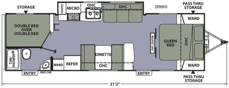 Apex Ultra-Lite 288BHS Floorplan Image