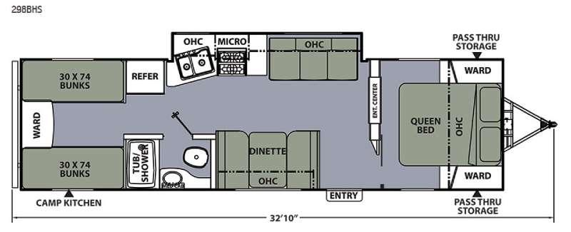 Apex Ultra-Lite 298BHS Floorplan Image
