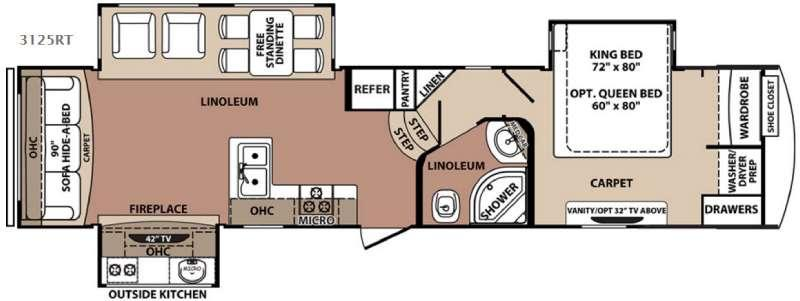 Floorplan - 2016 Forest River RV Blue Ridge 3125RT