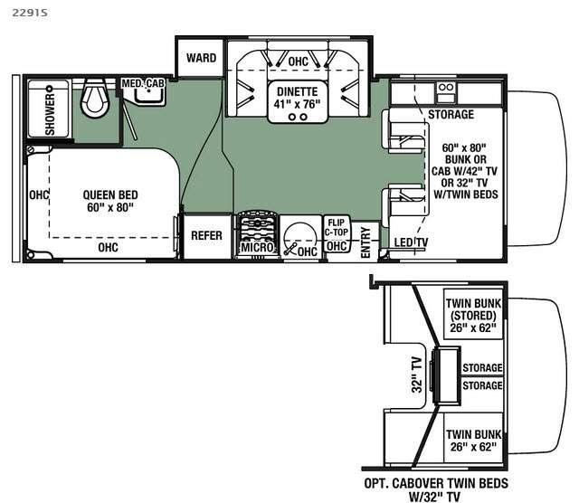 Floorplan - 2016 Forest River RV Forester 2291S Chevy