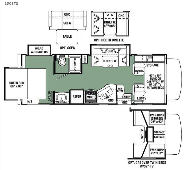 Floorplan - 2016 Forest River RV Forester 2501TS Ford