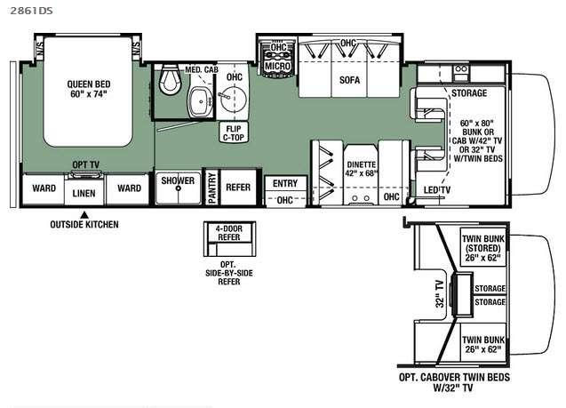 Floorplan - 2016 Forest River RV Forester 2861DS Chevy