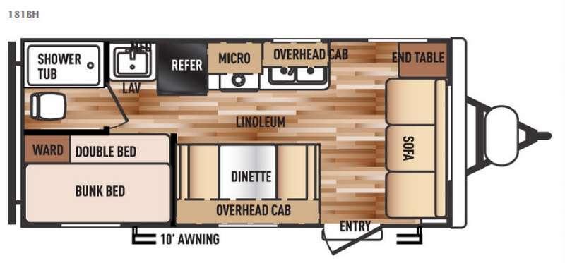 Floorplan - 2016 Forest River RV Salem Cruise Lite 181BH