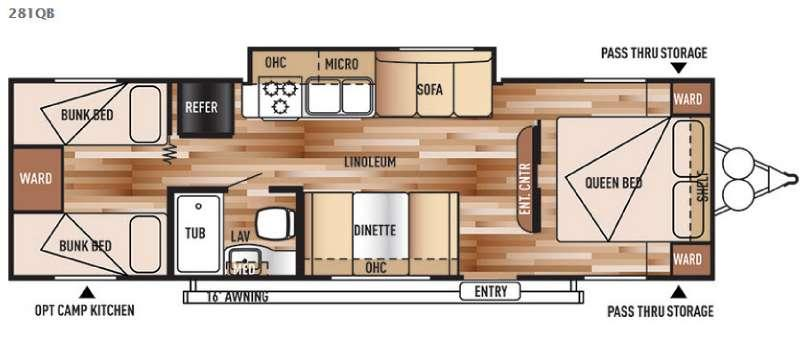 Floorplan - 2016 Forest River RV Salem Cruise Lite 281QB