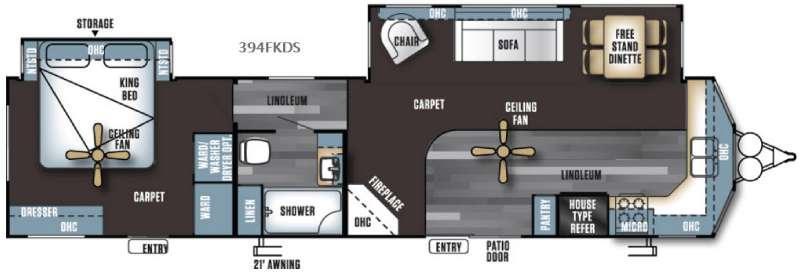Floorplan - 2016 Forest River RV Salem Villa Series 394FKDS Estate