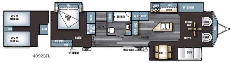 Floorplan - 2016 Forest River RV Salem Villa Series 4092BFL Estate
