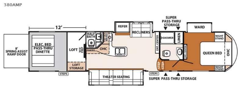 Floorplan - 2016 XLR Thunderbolt 380AMP Toy Hauler Fifth Wheel