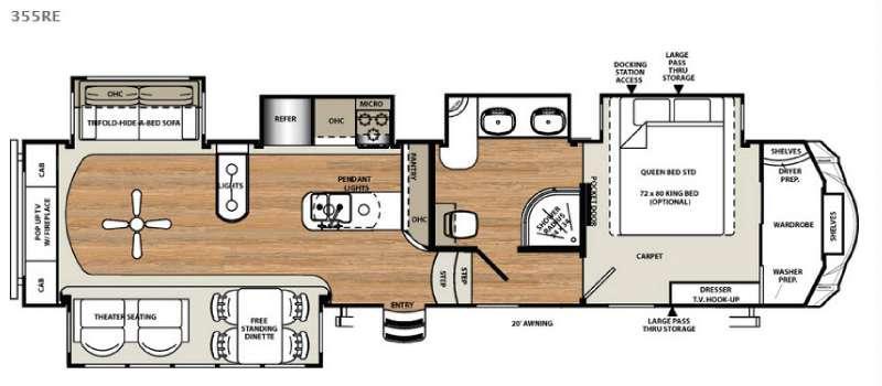 Floorplan - 2016 Forest River RV Sandpiper 355RE