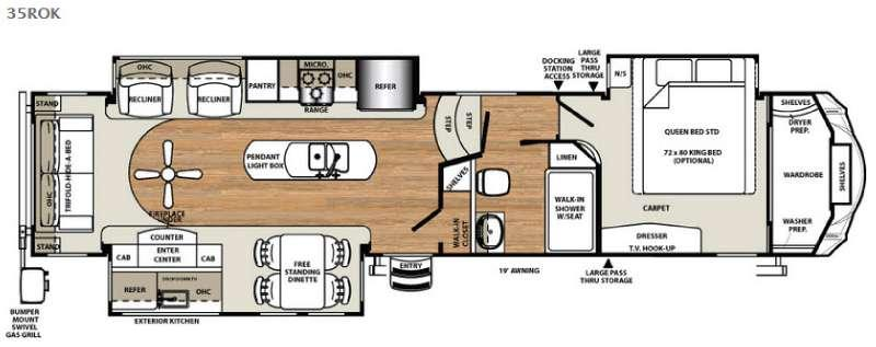 Floorplan - 2016 Forest River RV Sandpiper 35ROK