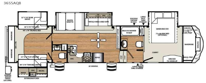 Floorplan - 2016 Forest River RV Sandpiper 365SAQB