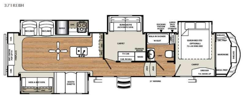 Floorplan - 2016 Forest River RV Sandpiper 371REBH