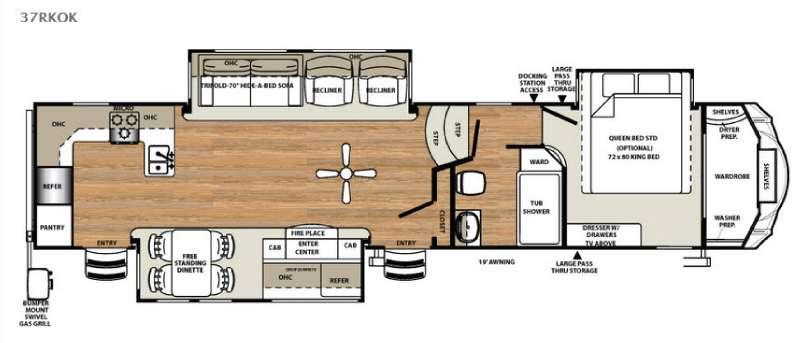 Floorplan - 2016 Forest River RV Sandpiper 37RKOK