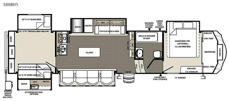 Floorplan - 2016 Forest River RV Sandpiper 380BH5