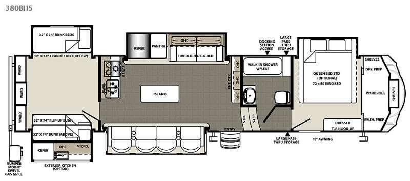 Floorplan - 2016 Forest River RV Sandpiper 380BH5