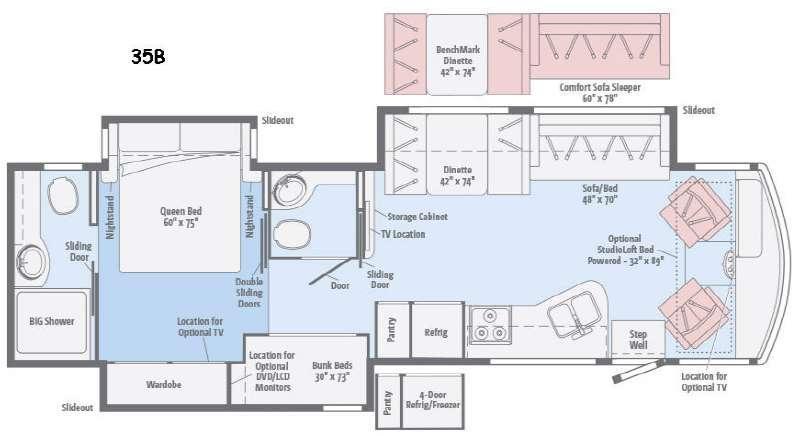 Floorplan - 2016 Winnebago Vista LX 35B