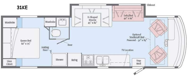 Floorplan - 2016 Winnebago Vista 31KE