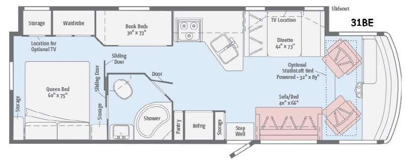 Floorplan - 2016 Winnebago Vista 31BE