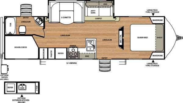 Floorplan - 2016 Forest River RV Vibe Extreme Lite 272BHS