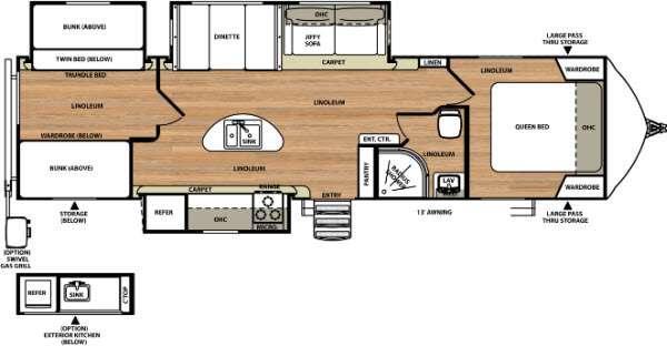 Floorplan - 2016 Forest River RV Vibe Extreme Lite 312BHS